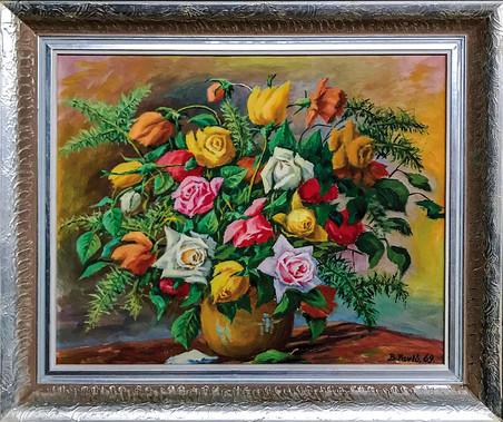 Č. 38 Bohumil Pavlů / Růže / olej na desce / rozměr 51,5 x 64