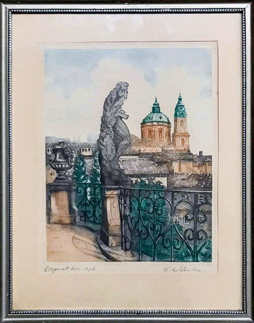 Č.5 Emil Wänke / Město Praha / orig. barevný lept / rozměr 32 x 24