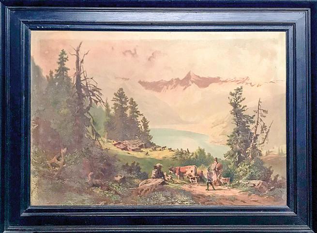 Č. 24 Autor neznámý / Krajina hory / tisk na plátně / rozměr 52,5 x 76,5