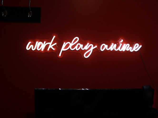 Work play anime neon sign
