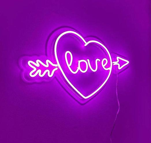 Heart Bow and Arrow Neon Sign  | Wall Art