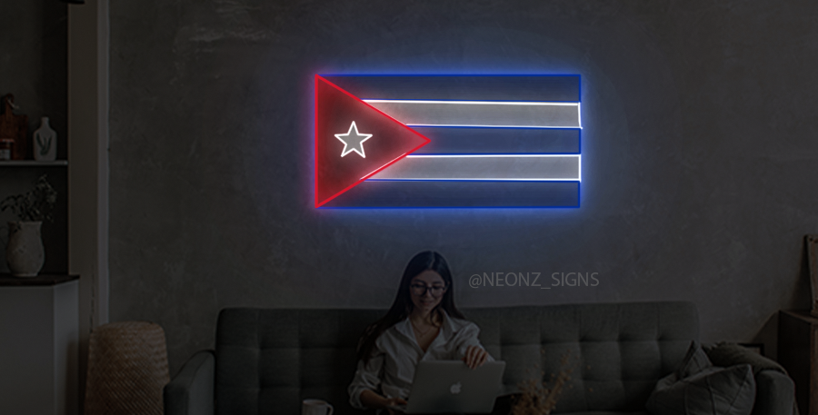 Cuban Flag Neon Sign