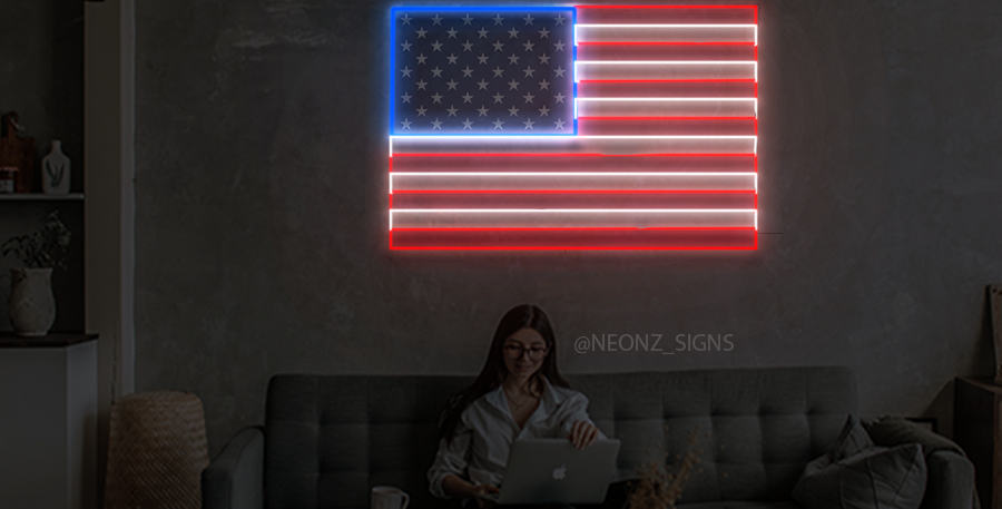 American Flag  Neon Sign