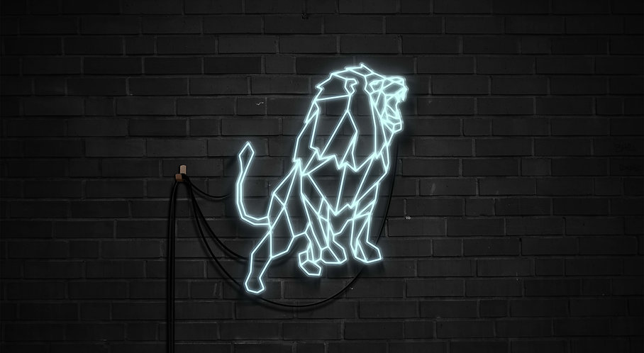 Roaring Lion Neon Wall Art - 31inches & up Large sign  🇨🇦