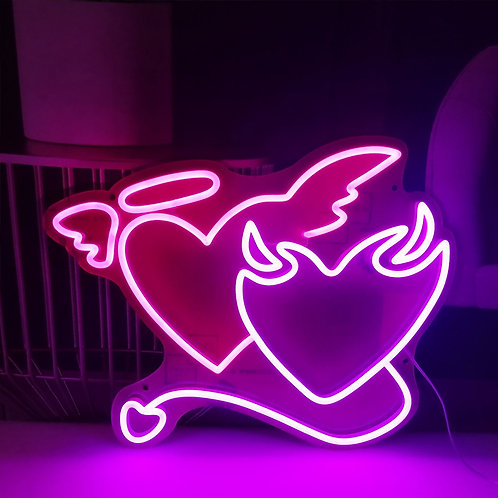 Angel and Demon Heart Neon Sign | PVC