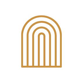 Peach and Gold Simple & Circular Church