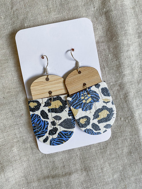 Bamboo Blue Floral Cork on Leather