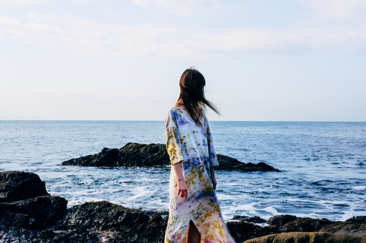 botanical dye slid dress