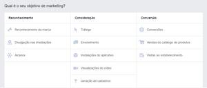 Facebook - Escolhendo os objetivos