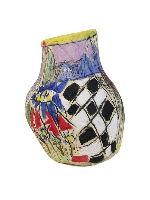 Flower Checkered Vase