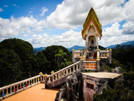 Een tempel, hoog in de bergen