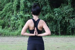Yoga To Ease Back Pain: Reverse Prayer Pose