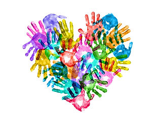 colorful-hand-prints-forming-a-heart-sha