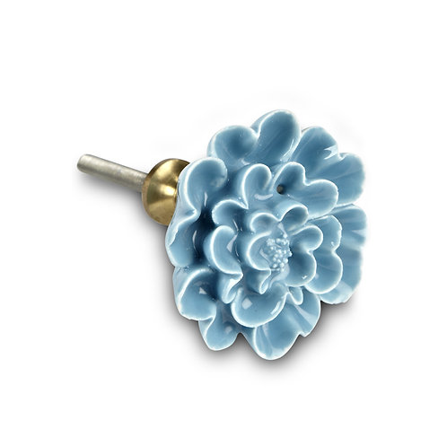 Sculpted Flower Knob - H13TURQ