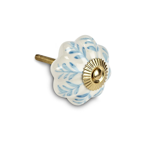 Fancy White Ceramic Knob - D4407