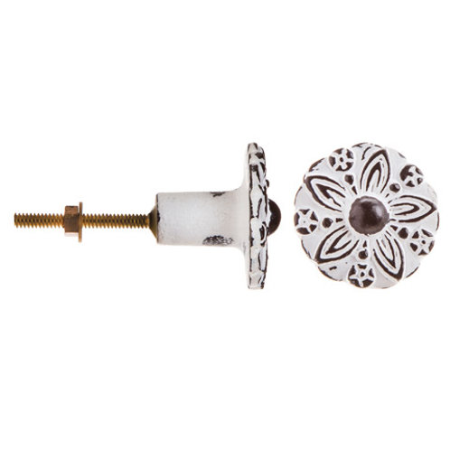 Abstract Embossed Flower Knob - D22693