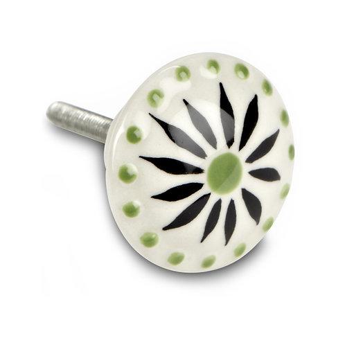 Green Flower Knob - H07BLK