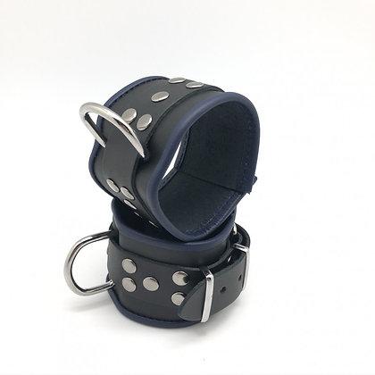 Menottes chevilles cuir noir/bleu