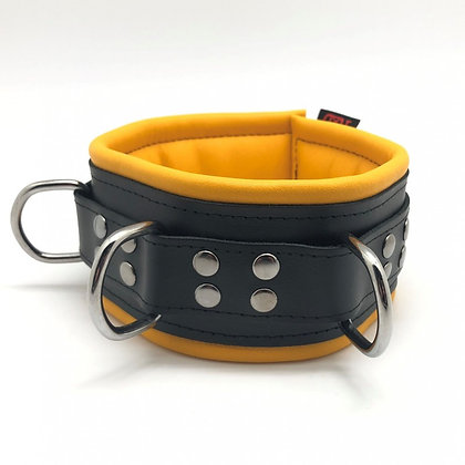 Collier cuir doux 3 anneaux jaune