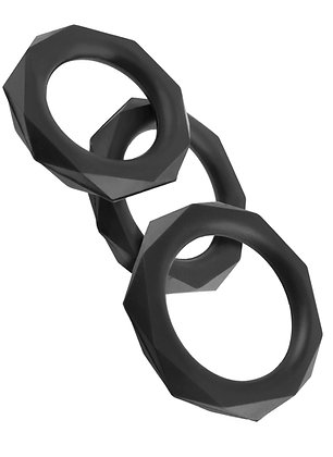 Lot de 3 cockrings en silicone C-Ringz Stamina Noir