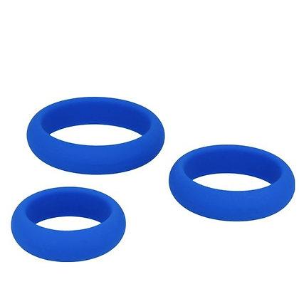 Cockring bleus en silicone x3