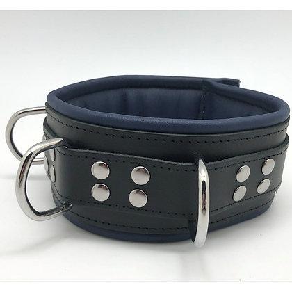 Collier cuir doux 3 anneaux bleu