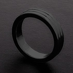 Cockring Ribbed Triune Noir 10mm