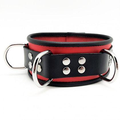 Collier en cuir 3 anneaux rouge