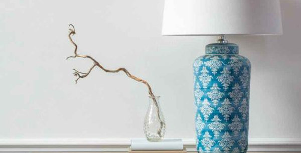 Teal Chinoiserie Lamp