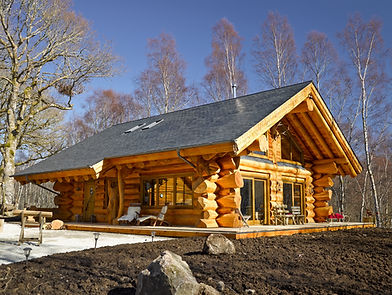 Canadian traditional log cabin cedar slate roof invergarry