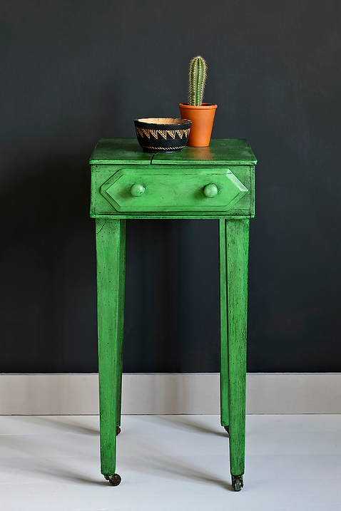 Antibes Green side table, Black Wax, Graphite Wall Paint Image 1.png