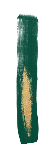 Emaralg green and glitter gold paint stroke