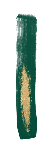 Emerald green and gold glitter paint stroke