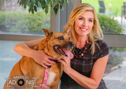 Karen Rogers with shelter dog