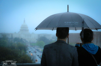 Couple looks on United States Capitol