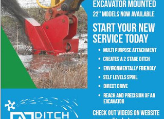 Drainage Contractor Magazine Article on Ditch Doctor New Excavator Attachment