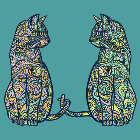 Mandala Cats Illustration