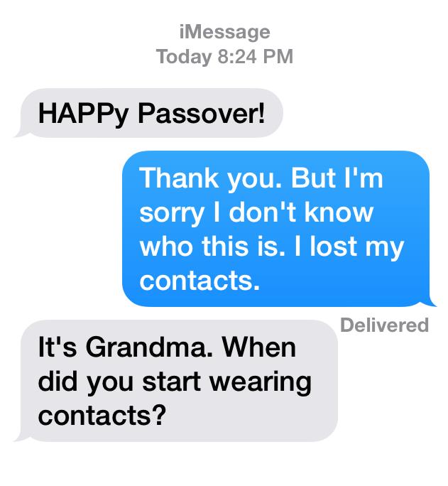 Grandma texting grandson