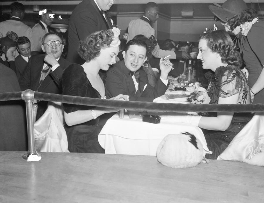 Billy Rose, who runs the Casa Manana, pictured at the Cotton Club opening with Eleanor Holm, left, and film star Estelle Taylor, right, 1938.