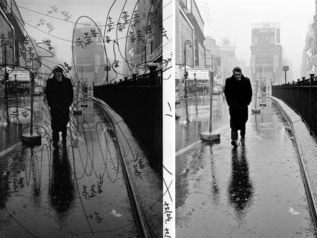 James Dean, Alone in the Rain, in the Middle of Times Square, 1955