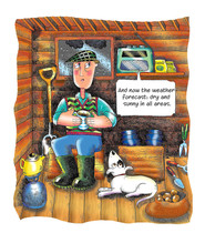 Man in his potting shed listening to the weather forecast.