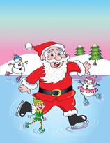 Skating Santa with elves.