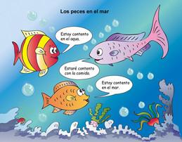 Cartoon fish speaking Spanish.