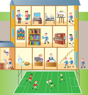 School diagram with playing fields.