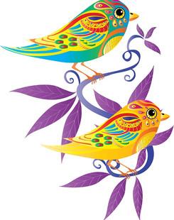 Two decorative birds.
