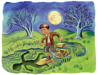 A boy frightened by a moon shadow.