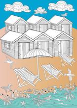 Seaside beach huts.