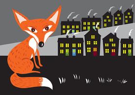 A red fox in an urban landscape.