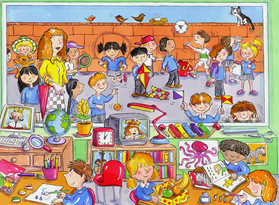 A classroom and playground scene.