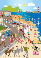 A scene depicting the seaside in 1960s Ireland.